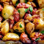 close up on Chorizo hash with text at the bottom