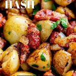 close up on Chorizo hash with text at the top and bottom