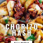 a spatula lifting up Chorizo potatoes with text at the bottom