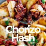 a spatula lifting up Chorizo hash with text at the bottom