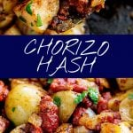 two pictures of chorizo potatoes with text in the middle