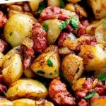close up on Chorizo hash with text at the top