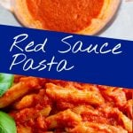 a blender of sauce and a bowl of pasta with text in the middle