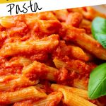 A bowl of Red Sauce Pasta with text at the top