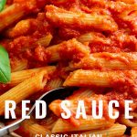 A Fork in a bowl of Red Sauce Pasta with text at the bottom