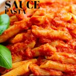 A bowl of Red Sauce Pasta with text at the top and bottom