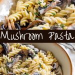two pictures of mushroom pasta with text in the middle