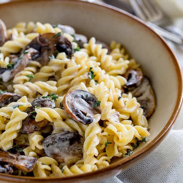 square picture of a brown and cream bowl of mushroom pasta