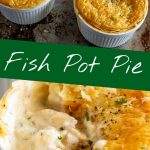 two pictures of fish pot pie with text in the middle