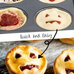 cooked and uncooked halloween pies with writing in the middle and at the top