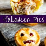 two pictures of halloween pies, one with a bite out and one with a face with text in the middle