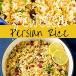 two shots of Persian rice with text in the middle