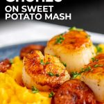 Close up on scallops and chorizo on sweet potato mash with text at the top