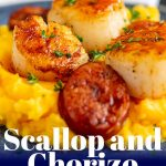 Close up on scallops and chorizo on sweet potato mash with text at the bottom