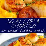 2 pictures of scallops and chorizo on sweet potato mash with text in the middle