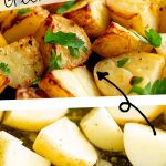 close up on greek potatoes cooked and raw with text in the middle
