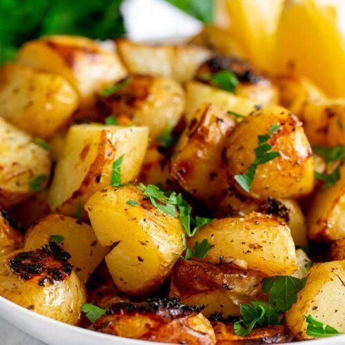 Slow Roasted Greek Lemon Potatoes