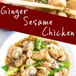 two pictures of sesame ginger chicken with text in the middle