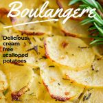 baked French sliced potatoes with text at the top