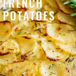 baked French potatoes casserole with text at the top