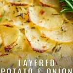 close up on the baked sliced potatoes with text at the bottom