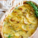 white dish of French potato bake with text at the top