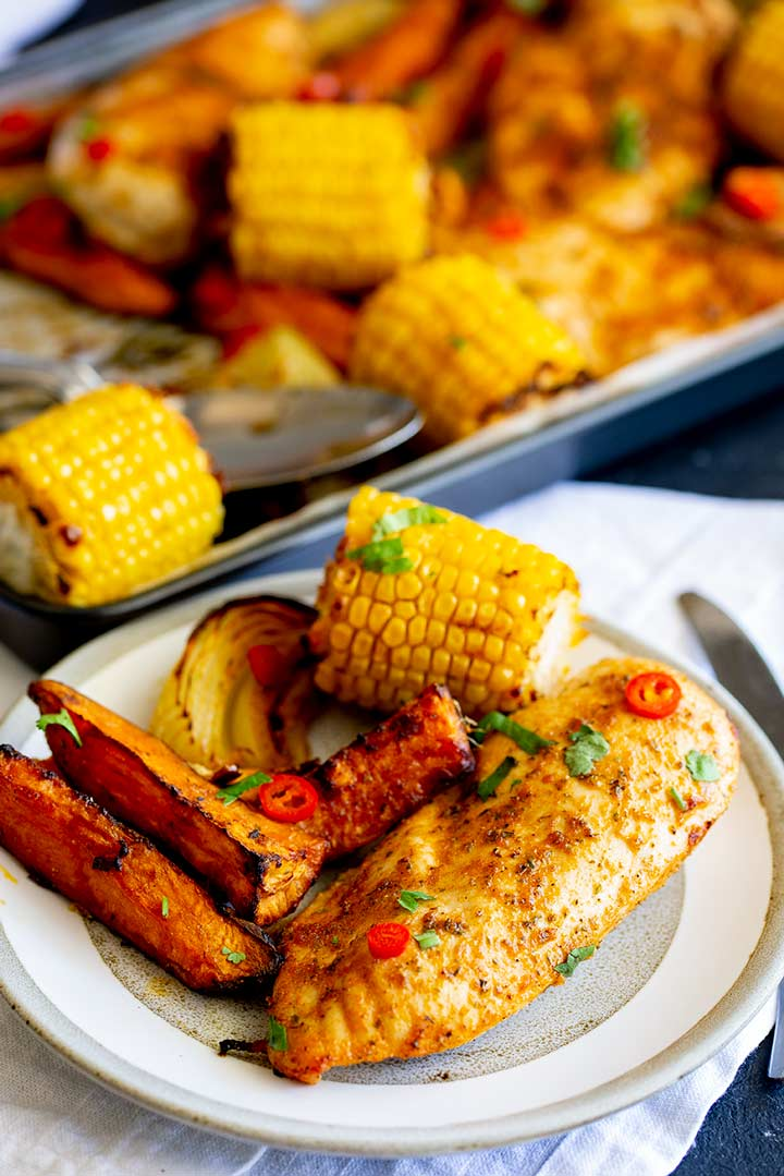 a grey plate with one chicken breast some sweet potato wedges and a mini corn on the cob on it
