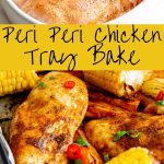 Cooked and raw peri peri chicken with text in the middle