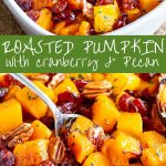 two pictures of roasted pumpkin with text in the middle