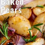 close up on baked pears with text at the top