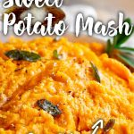 close up on some sweet potato mash with text at the top and bottom