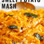 close up on some sweet potato mash with text at the top