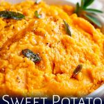 a spoon drizzling butter over sweet potato mash with text at the bottom