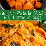 raw sweet potatoes and mashed sweet potatoes with text in the middle