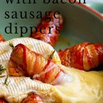 a bacon wrapped sausage sitting in baked brie with text at the top