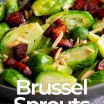 a bowl of brussel sprouts with text at the bottom
