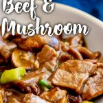 sliced beef and mushrooms in a brown Chinese sauce with text at the top and bottom
