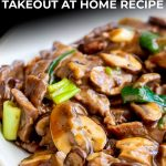 sliced beef and mushrooms in a brown Chinese sauce with text at the top