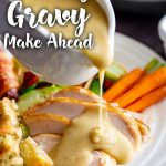 a roast dinner with turkey gravy being poured over and text at the top and bottom