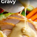 a roast dinner with turkey gravy being poured over and text at the top