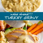 turkey gravy in a plastic container and being poured over a dinner with text in the middle