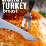 a knife carving a turkey breast with text at the top
