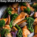 a sheet pan of chicken, sweet potato and broccoli with text at the top