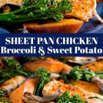 two picture of sheet pan chicken with text in the middle