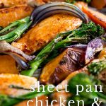 close up on the chicken sheet pan dinner with text at the bottom