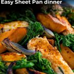 close up on the chicken sheet pan dinner with text at the top