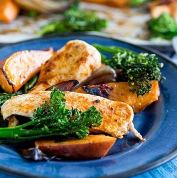 a blue plate with chicken, sweet potato and broccoli on it