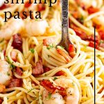 a fork swirling shrimp and bacon pasta wth text at the top