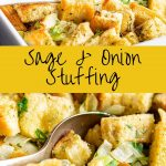 two pictures of homemade stuffing with text in the middle