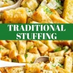 two pictures of sage and onion stuffing with text in the middle